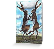 BOXING HARES  Greeting Card