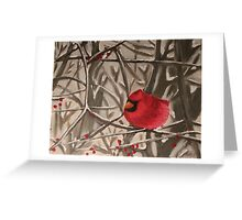 Cardinal In Winter Branches Greeting Card