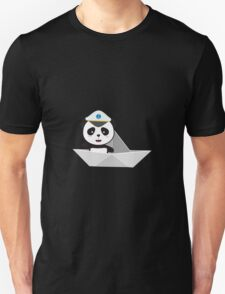 Captain Panda with paper boat Unisex T-Shirt