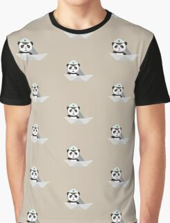 Captain Panda with paper boat Graphic T-Shirt