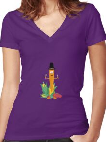 Thanksgiving Carrot with Vegetables Women's Fitted V-Neck T-Shirt