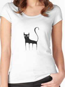 A Black Cat Women's Fitted Scoop T-Shirt