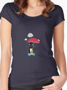Cat in the rain with Umbrella Women's Fitted Scoop T-Shirt