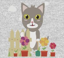 Cat in the garden with flowers   One Piece - Long Sleeve