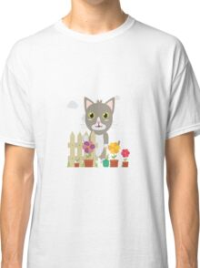 Cat in the garden with flowers   Classic T-Shirt