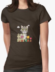 Cat in the garden with flowers   Womens Fitted T-Shirt