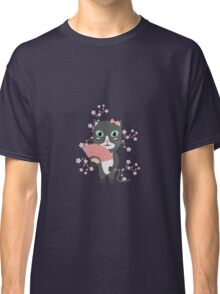 Japanese cat with cherry blossoms   Classic T-Shirt
