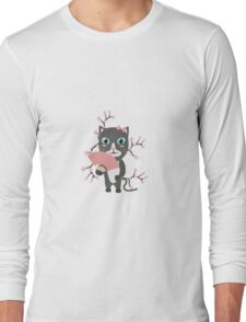 Japanese cat with cherry blossoms   Long Sleeve T-Shirt