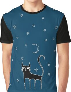 A Black Cat Graphic T-Shirt