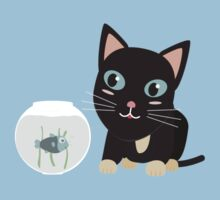 Cat with fish Aquarium   One Piece - Short Sleeve