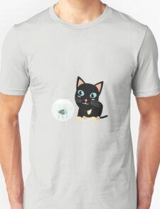 Cat with fish Aquarium   Unisex T-Shirt