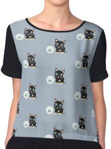 Cat with fish Aquarium   Chiffon Top