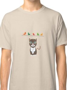 Hungry cat with birds   Classic T-Shirt