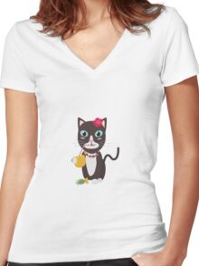 Hawaii cat with pineapple   Women's Fitted V-Neck T-Shirt