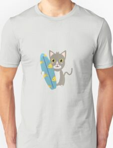 Cat with surfboard   Unisex T-Shirt