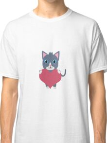 Romantic cat with heart   Classic T-Shirt