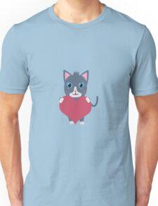Romantic cat with heart   Unisex T-Shirt