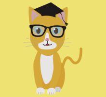 nerd geek cat Kids Tee