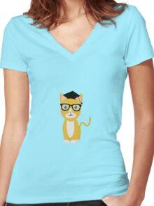 nerd geek cat Women's Fitted V-Neck T-Shirt