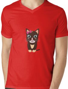 Cute cat with bow   Mens V-Neck T-Shirt