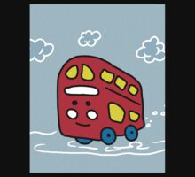 Simple Easy Red Bus One Piece - Short Sleeve