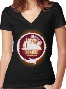 Bonaire Sunset Women's Fitted V-Neck T-Shirt