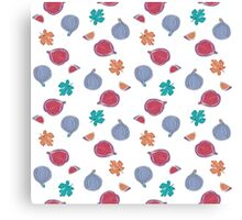Seamless Pattern with fig fruits and leaves Canvas Print