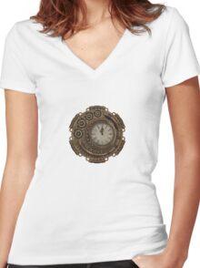 Steam Clock Women's Fitted V-Neck T-Shirt