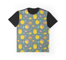 Seamless pattern Apricot jam and fruits on gray Graphic T-Shirt