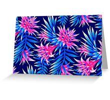 Fasciata Tropical Floral - Mid Blue/Pink Greeting Card