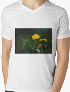 Yellow Dandelion Mens V-Neck T-Shirt