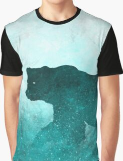 Space Bear Silhouette: Teal Ghost Graphic T-Shirt