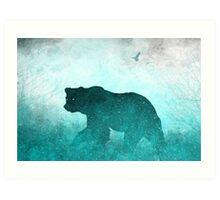 Space Bear Silhouette: Teal Ghost Art Print