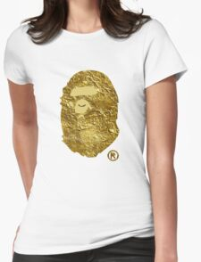 BAPE | Gold Foil ® | White Background | 0% Opacity | High Quality! Womens Fitted T-Shirt