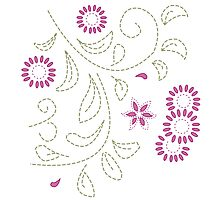 Pink Flower Doodle Photographic Print