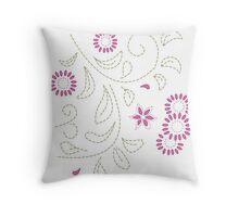 Pink Flower Doodle Throw Pillow