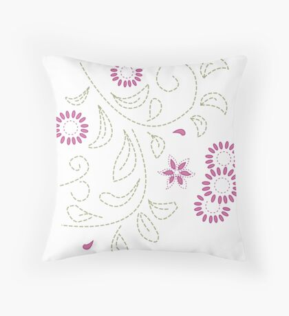 Pink Flower Doodle Throw Pillow