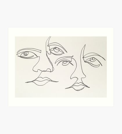 One Line Two Faces Art Print