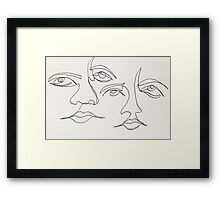 One Line Two Faces Framed Print