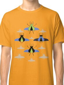 Flying Rhino and Staghorn Beetles over Blue and Green Classic T-Shirt