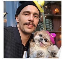 james franco and dog with sombrero  Poster