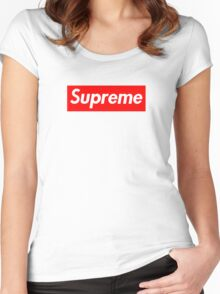 Supreme   Box Logo   White Background   HIGH QUALITY! Women's Fitted Scoop T-Shirt