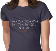 """""""i < 3 u"""" equation Womens Fitted T-Shirt"""