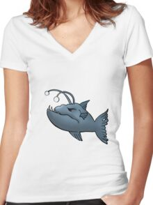 Anglerfish graphic Women's Fitted V-Neck T-Shirt