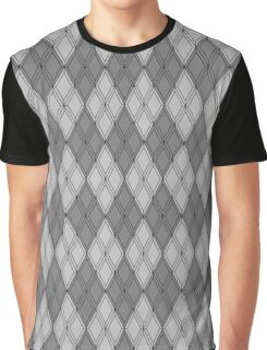 Gray and Gray Argyle Graphic T-Shirt