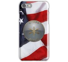 U.S. Army Cyber Corps - Branch Plaque over American Flag iPhone Case/Skin