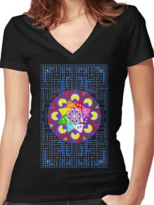 Pac-Mandala Women's Fitted V-Neck T-Shirt