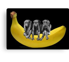 ❤‿❤ MONKEYS SIGN LANGUAGE SITTING ON BANANA❤‿❤ Canvas Print