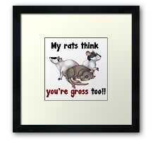 My Rats think you're gross Framed Print