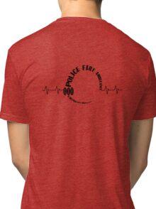 000 Emergency Operator 1 Back - Black Print Tri-blend T-Shirt